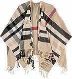 FRAAS Damen-Poncho kariert - Ruana mit Karo-Muster - Made in Germany - kariertes Cape für Frauen - stilvolle Web-Jacke in verschiedenen Farben Beige