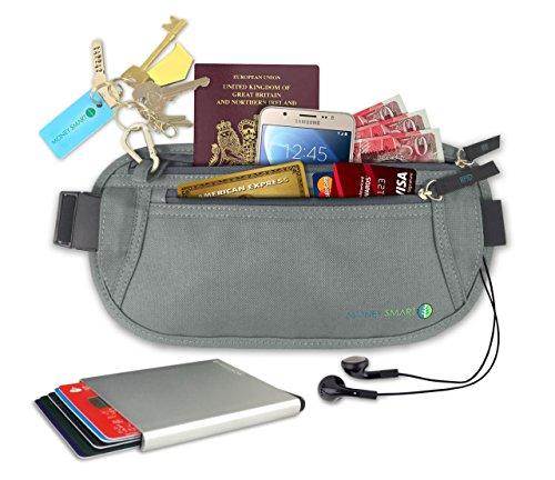Marsupio Portasoldi & Portafoglio Anti RFID. Porta Carte Anti-Furto & Cintura Portasoldi da viaggio per Passaporto, Carte, ID. Marsupio Segreto & Portafoglio fine per Sport & Viaggi