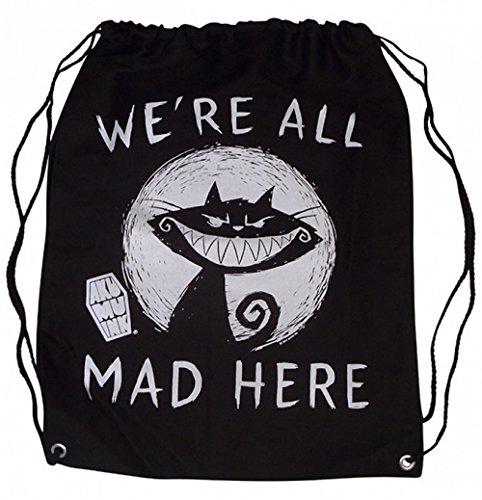 Akumu Ink - Slingbag Turnbeutel - We´re are all Mad Here (Schwarz)