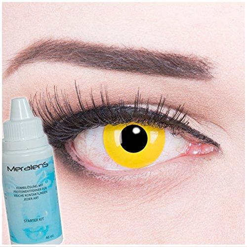 een Kontaktlinsen crazy Kontaktlinsen crazy contact lenses Gelbe Kontaktlinsen Yellow 1 Paar.Topqualität mit Linsenbehälter mit 60ml Pflegemittel. (Kontaktlinsen Halloween Billig)