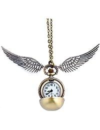 HS86® Goldene Kugel Goldener Ball Halskette mit Flügel Antike Bronze mit Uhr