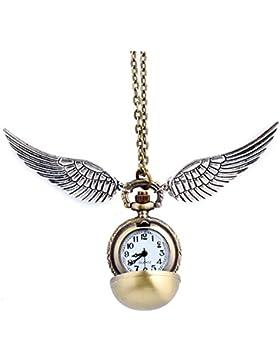 Goldene Kugel Goldener Ball Halskette mit Flügel Antike Bronze mit Uhr