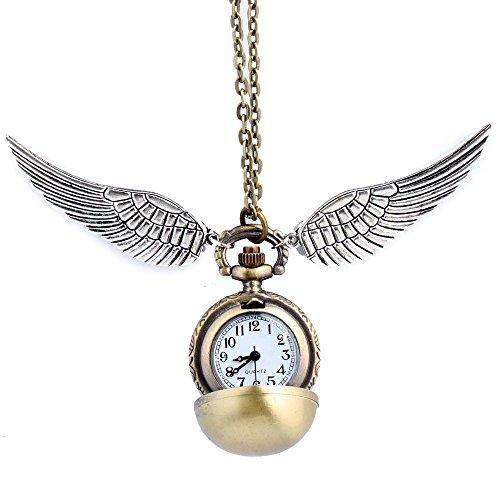 Unauffällig Kostüm - HS86 Goldene Kugel Goldener Ball Halskette mit Flügel Antike Bronze mit Uhr