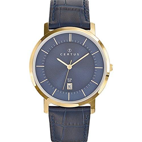 Certus 612363 - Reloj para hombres, correa de cuero color azul