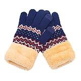 Hiroo Womens Men Winter Geometric Knit Click Screen Dita Schermo Caldo,Gloves da muffola Guanti inverno femminile carino studenti coreani più ispessimento di velluto all-inclusive si riferisce
