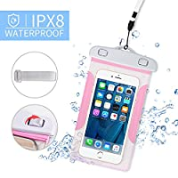 Waterproof Phone Case, Underwater Phone Case Dry Bag with Strap Armband for iPhone 6/6s/7/6 plus/7 Plus, Samsung Galaxy Note4 S6 S7 Edge, HTC, LG, Sony (Pink)