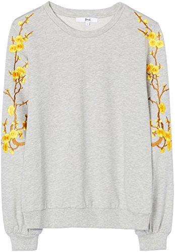 FIND Damen Pullover mit Blumenstickereien, Grau (Grey Marl), Large