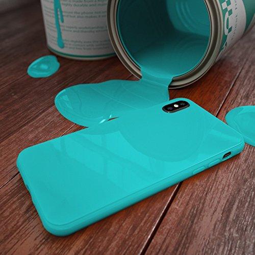 iPhone X Hülle Handyhülle von NICA, Ultra-Slim TPU Silikon Jelly Case, Dünnes Cover Gummi Schutzhülle Skin, Etui Handy-Tasche Backcover Bumper für Apple i-Phone X Smartphone, Farbe:Herz Schwarz Türkis
