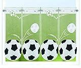 Kamaca Bistrogardine Kindergardine Fussball individuell in der Breite kürzbar Halbtransparent Breite 150 cm/Höhe 45 cm Scheibengardine (FUßBALL)