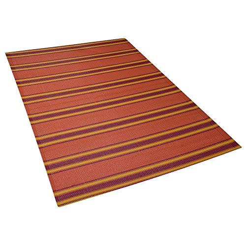 Beliani Outdoor Teppich orange 120x180 cm Bodenschutzmatte Kunststoffmatte Alwar