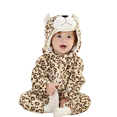 MissFox Baby Jungen Mädchen Winter Flanell Strampler Outfits Cosplay Onesie Tierkostüme Pyjamas Schlafanzug - Leopard 3, Größe 100 - Leoparden-strampler