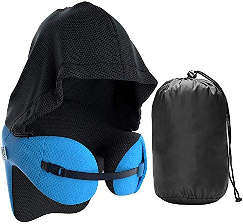 6-in-1 Long Haul Memory Foam Reisekissen mit abnehmbarer Kapuze Verstellbare Nackenkissen für Tourismus Auto Nap-Rest-Kissen