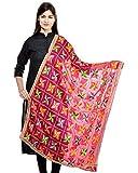 Generic Women's Amritsari Magents Colour Art Chiffon Phulkari Dupatta (ka56789, Pink, Medium)