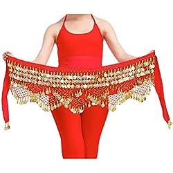 YiJee Profesional Multi-Row Lentejuelas Danza del Vientre Cinturón Rojo