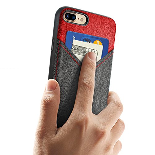 Coque Portefeuille iPhone 7 Plus,Ultra Slim Fine Coque de Protection Cuir Card Slot Wallet Case,Fente pour Carte Housse Etui Premium Coque pour Apple iPhone 7 Plus-Noir iPhone 7 Plus Rouge