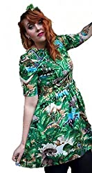 1950Õs Style Green Dinosaurs with Sleeve Dress - Silly Old Sea Dog