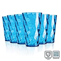 Omada Diamond Glasses / 500 ml / Break Resistant Acrylic Colored / Unbreakable / Water,...