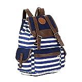 LAAT Schüler Rucksack College Classics Gestreift Rucksack Segeltuch Beiläufig Rucksäcke Schule Daypacks Laptop Taschen für Mädchen (Blau)