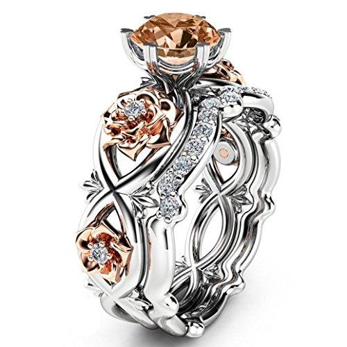 Trada Damen Ring, Neue Damenmode Zwei Ton Engagement Silber Transparent Floral Ring Set Diamant Blume Weinblatt Ringe Hochzeit Frau Geschenk (5, Kaffee) (Hochzeit Ring Aufnahmen)