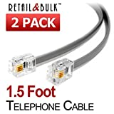 (2 Pack) 1.5 Foot Grey Telephone Cord, 6P4C RJ11 Plugs, 4 Conductor Wire