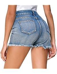 79db670eaba9 Estyle Fashion Damen Shorts Jeans Sommer Shorts Hohe Taille Hüftjeans  Ripped Hotpants Kurze Hose Curling Pants