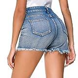 Estyle Fashion Damen Shorts Jeans Sommer Shorts Hohe Taille Hüftjeans Ripped Hotpants Kurze Hose Curling Pants, M, Blau
