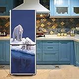 HHYS Kühlschrank-Aufkleber DIY Wasserdicht Selbstklebend Wandgemälde Weiß Netter Weißer Eisbär Muster,60X180cm(23.6''X70.8'')