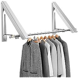 Cintre Pliable, Mture Pliant Hanger Mural Rétractable en Alliage d'Aluminium Cintre Pliable Pour Salon, Salle de Bain, Chambre, Bureau, Économiser de l'espace (2 pcs)