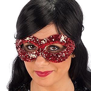 Carnival 00845-Máscara con lentejuelas, plástico, de sobre con puente, rojo