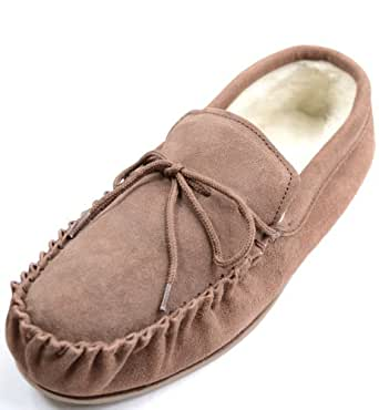 Mens Light Brown Sheepskin Suede Moccasin Slippers with Hard Sole. Size 9