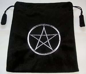 Black Velvet Feel Tarot Bag/Pouch, silk lining, with Pentagram