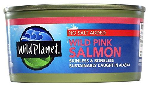 Wild planet - rosa salmone selvaggio d'alaska senza aggiunta di sale - 6 oncia.