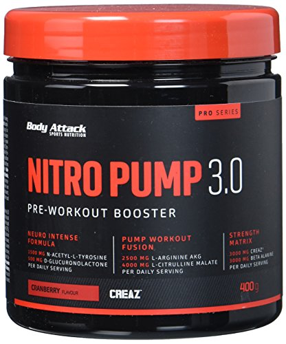 Body Attack Nitro Pump 3.0, Cranberry, 1er Pack (1 x 400 g) - Pump Pre-workout Creatin