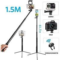 3 in 1 Bluetooth Selfiestick Stativ, Moreslan (1.5 M) Selfie Stick Selfie Stange Mit Fernbedienung Erweiterbar 360°Rotation Stativ für Tablet/ Phone X/ 8 Plus/ 8/ 7 Plus/ 7/ 6s/ 6/ DSLR
