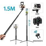 Moreslan 3 in 1 Bluetooth Selfiestick Stativ, (1.5 M) Selfie Stick Selfie Stange Mit Fernbedienung Erweiterbar 360°Rotation Stativ für Tablet/Phone X/ 8 Plus/ 7/ DSLR (Ideales