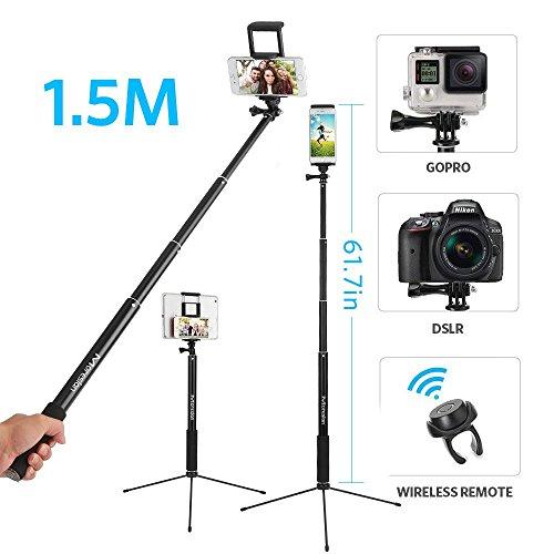 Moreslan Bastone Selfie Extra Lungo Bastone Treppiedi Asta 1.5metri Selfie Stick con Bluetooth Telecomando Incluso 2 in 1 Supporto per Telefoni Tablet