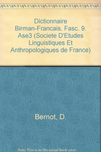 Dictionnaire Birman-francais. Fasc. 9. Ase3