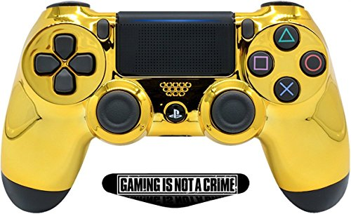 Gold Custom PS4 Pro Rapid Fire Custom Modding Controller 40 Mods für Alle Major Shooter Spiele, fortnite & Mehr, Custom LED (cuh-zct2u)
