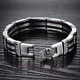 Oidea Herren Armband, Exquisit Schwarz Silber Streifen Kreuz Armreif Armschmuck Armkette Handgelenk, Edelstahl - 4