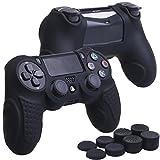 YoRHa Perfekter Griff Kein Geruch Silikon Hülle Abdeckungs Haut Kasten für Sony PS4/slim/Pro Controller x 1 (schwarz) Mit Pro aufsätze thumb grips x 8