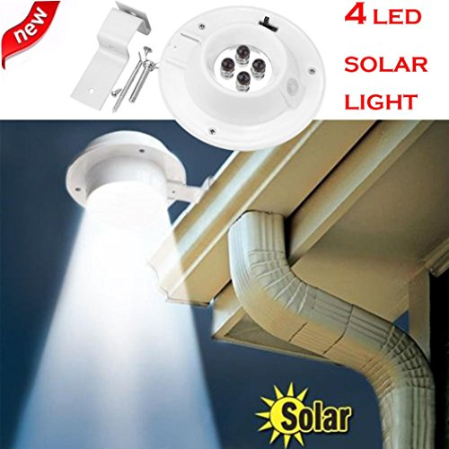 DOLDOA Neue 4 LED ☀『 Solar 』☀ Powered Gutter Licht Outdoor / Garten / Yard / Wand / Zaun / Pathway Lampe