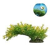 Xiton Acqua Artificiale Piante Acquario Aquascaping Serbatoio Decorazione plastica Piante Pesci Serbatoio Decorazione vivida Simulazione pianta Creatura Acquario Paesaggio-Verde Giallo