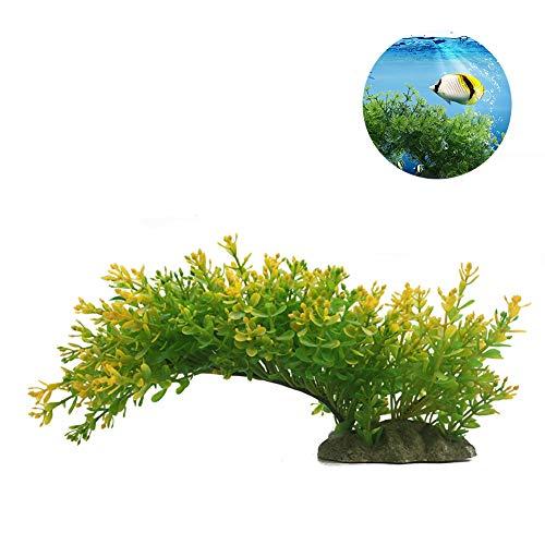 Xiton Künstliche Pflanzen Aquarium Aquascaping Tank Dekor Kunststoff-Pflanzen FischBehälter Dekorationen Lebendige Simulation Pflanzen Geschöpf Aquarium Landschaft-grün-gelb