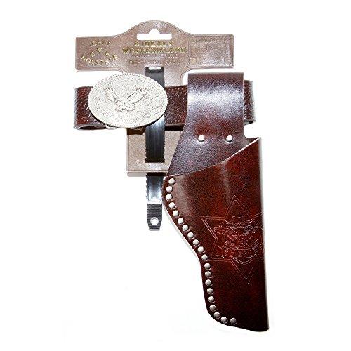 Kostüm Halfter - J.G.Schrödel Gürtel Eagle mit Nieten und 1 Holster: Pistolengürtel aus Lederimitat und Metall für Spielzeugpistolen,95-135 cm, braun (750 0155)