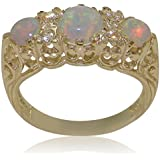 High Quality Opal & Cubic Zirconia CZ Solid 9ct Yellow Gold Ladies Ring - Finger Sizes J to Z Available