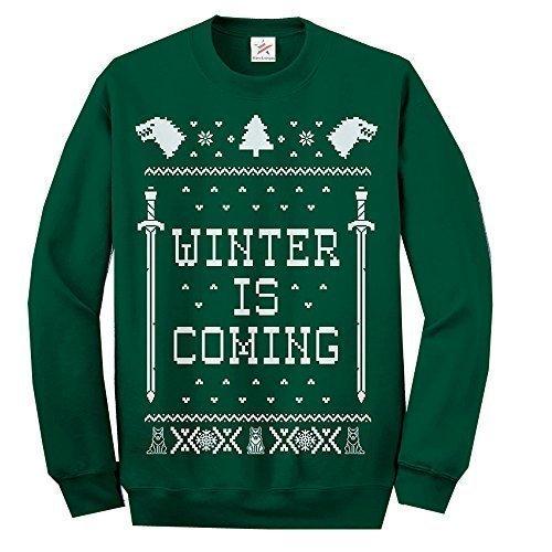 Weihnachten Erwachsene Sweatshirt (Inspiriert Spiel Thron Ugly pullover langärmeliges Top Lustige Weihnachten Bedruckt Erwachsene Sweatshirt, Pullover, Pullover - Flaschengrün, M)