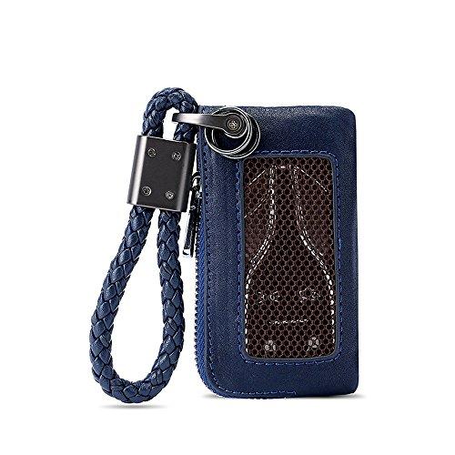 KFZ Schlüssel Kette Tasche, Universal KFZ Schlüssel Halter Schlüsselring Reißverschluss Fall für Auto Remote Schlüsselanhänger Leder Cover Herren Frauen, blau