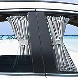 Ommda Sonnenschutz und Sichtschutz Seitenscheibe Universal Sonnenschutz Auto Baby mit UV Schutz 2er Pack Vorhänge Grau 50cmx39cm