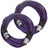 Seismic Audio Pair Of Purple 25' XLR Male To Female Microphone Patch Cables Purple - SAXLX-25Purple-2Pack