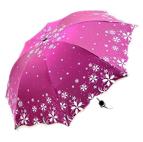 Hermoso Paraguas de Flores Que cambian de Color para Mujer, Rosa roja (Rojo) - UK-qoNyq5b8fOd_kwMEGGRq